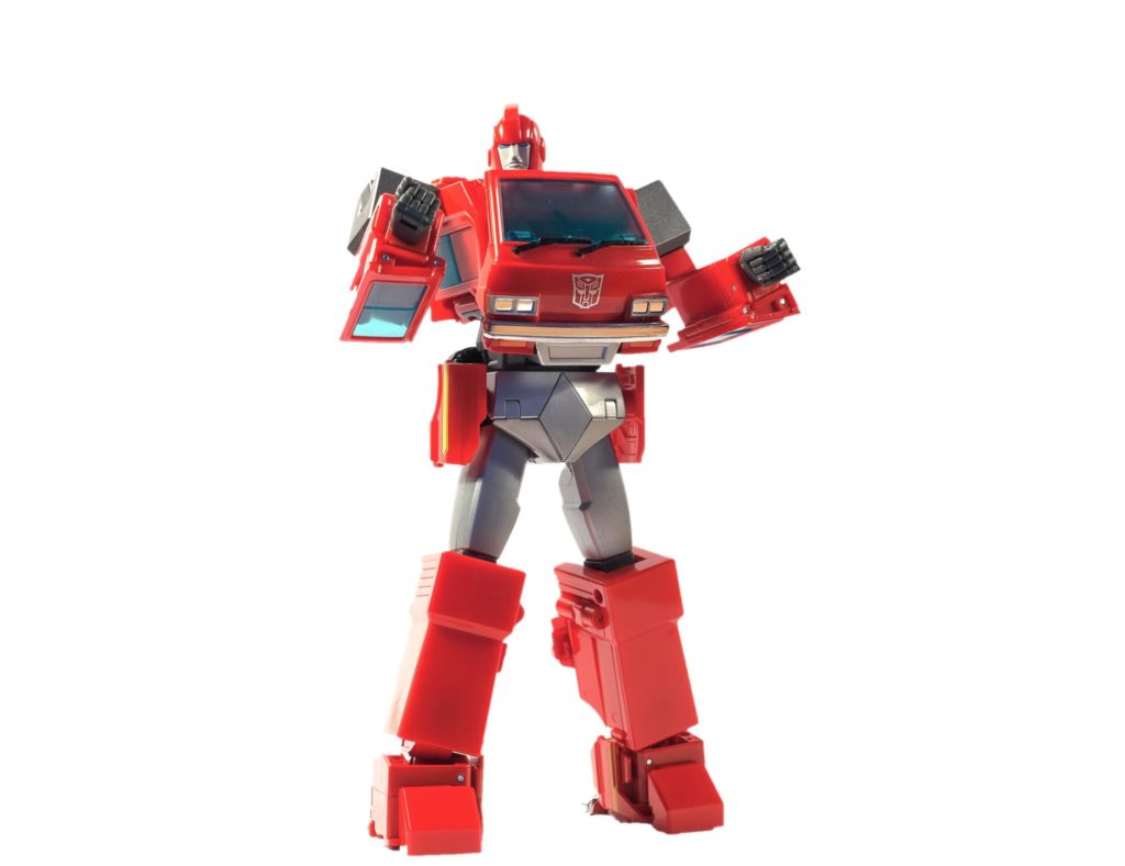 Masterpiece Ironhide in red with his both hands lifted