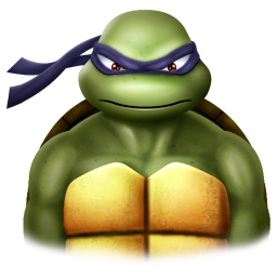 Angry Ninja Turtle Donatello wearing a purple face mask over his eyes