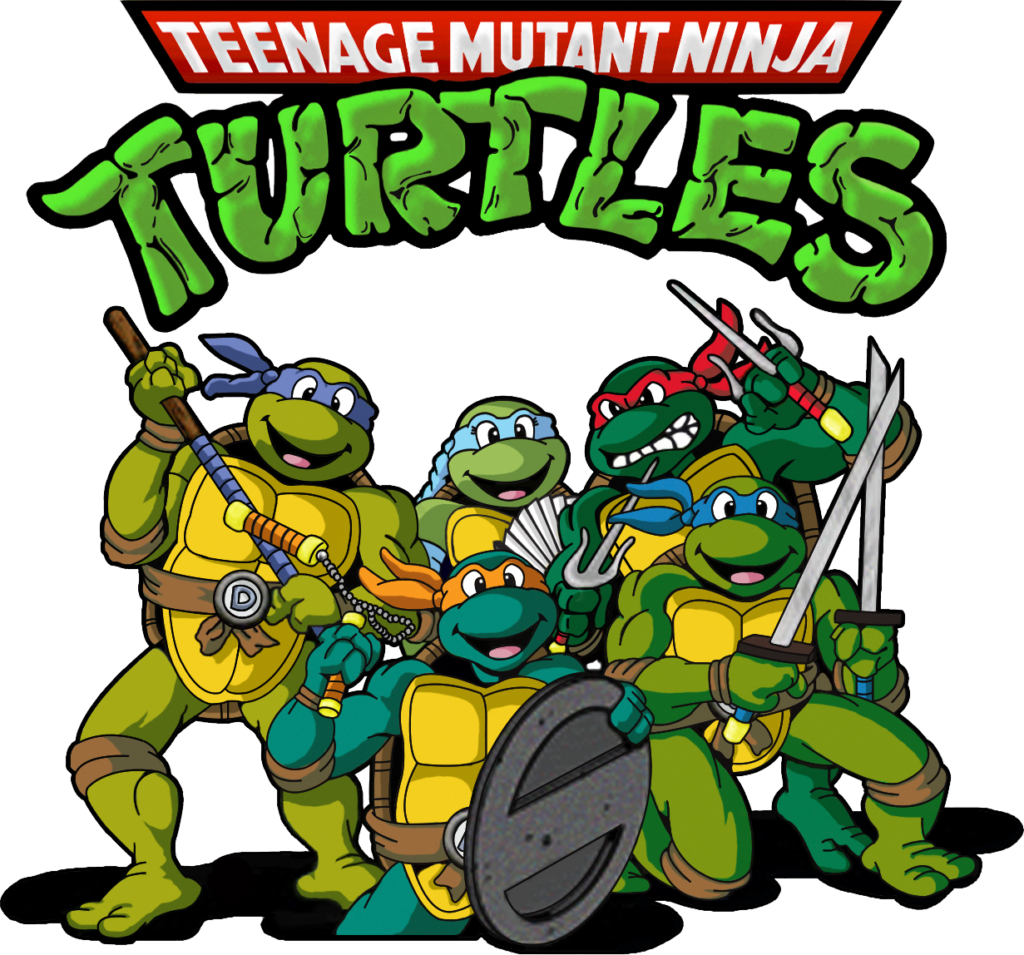 Under the TMNT logo are five Teenage Ninja Mutant Turtles holding their respective weapons